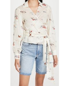 Printed Wrapover Top