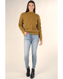 Tobacco Cable Knit Sweater